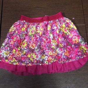 JUSTICE GIRLS, 8, Pink Floral and Sequin Skirt